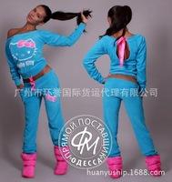 2014 Women Hello Kitty Printed Cartoon Sweatshirts,Hoodies+Pant Suit Set Sport Suit Women's Hoodie Tracksuits