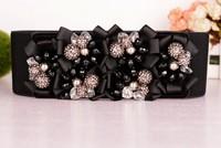 cintos femininos 2014 Wild single productglass flower decoration women stretch elastic waistband wide belt dress Belts For Women