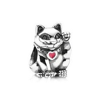 Free Shipping 1pc 100% 925 Sterling Silver Bead Wealth Cat Enamel Charm European Bead Fit Snake Chain Bracelet SS2577