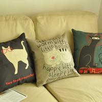 Cat cartoon fluid linen pillow sofa cushion kaozhen pillow case core unpick and wash