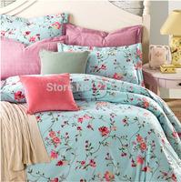 2015 Spring HOME TEXTILE 100% cotton Blue 4pcs bedding set designer Floral wedding quilt cover bed sheet pillow cases king queen