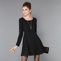 Plus Size Dress Long Sleeve Black Flared A-line Fit Flared Women Vestido #SN6211