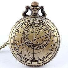 Retro brújula cuarzo cadena patrón colgante reloj de bolsillo hombres mujeres regalos P208(China (Mainland))