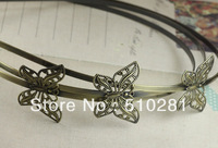 free shipping !!! (NO.05677) vntique metal copper hair hook components making bronze color butterfly jewelry