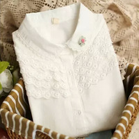 Hot Sale 2014 New Preppy Causal Shrits 100% Cotton Lace Long Sleeve Peter Pan Collar Clothes Women's Top Blouses White For Girls