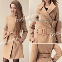 LBL1052 Womem new wool long cardigan casual belt windbreaker coat outerwear trench plus size khaki