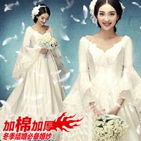Princess bride wedding dress winter V-neck speaker long-sleeve wedding married lace maternity Dresses