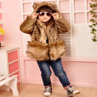 Retail High Quality Luxury Antumn Winter Children Clothing Baby Cute Faux Fur Hooded Warm Coat Bear Outwear Child Kids Jackets
