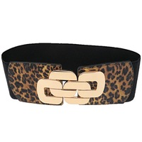 Hot sell fashion lady's high quality leopard print elastic wide waist belt,casual luxury cummerbunds for women