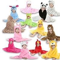 Cartoon Anime Animal Autumn Winter Baby infant Toddle Bath Wrap Hooded Bathrobe Shawl Kids Homewear