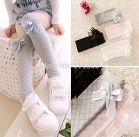 4 pairs/lot 2014 new girls Stockings children Cotton yarn bowknot Princess Knee High Stockings for 3-8 years girls