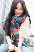 2014 New Hot Fashion Super Long Scarves Winter Warm Ethnic Knitting Shawl  Woman Tassel Scarf