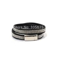 2015 newest Rhinestone Bling Wrapped Bracelets Double wrap Bracelet Leather Wrap Bracelet Wristband crystal Charms chokers