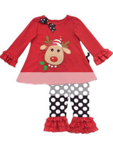 wholesale children's girls clothing Christmas suit Cute cartoon deer horn bow blouse +dot trousers free shipping