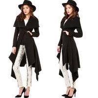 Dovetail Draped Women Coats Black Long Sleeve Slim Long Winter Coat Turn-Down Collar Fishtail Fashionanle Desigual 2014 New Coat