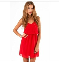 2014 Summer new European women sexy dress Spaghetti Strap mini solid club female chioofon dresses Hot sale vestidos J2299