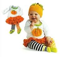 Christmas suit  Halloween pumpkin suit  Pumpkin shirt + tutu skirt children baby girl suit free shipping new style