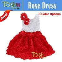 New 2014 Baby Girl Christmas Dress Girl Sleeveless Merry Christmas Dress Kids Cotton Casual Dress Tutu Rose Dress Free Shipping