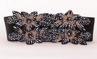 2014 New Korean Fashion Wild Diamond Crystal Beaded Wide Belt Female Closure Elastic Cintos Femininos Brand Belts For Women