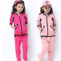 2015 Two-piece Girl Clothing Set Kid Baby Outwear Children Cotton Hoodies Sweatshirt+Pant Spring Autumn Top Quality K026