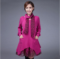 Autumn/winter 2014 loose quality plus size women's clothes send fake two piece wool knit Leopard print dress scarves