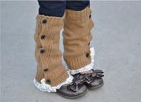 Knit Little Girls' leg warmers Crochet Lace Trim and Buttons children kids leg warmers Boot Socks