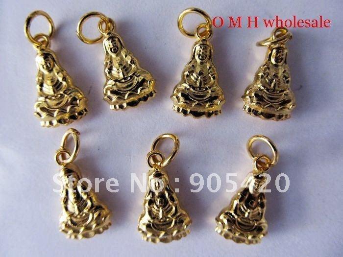 OMH Free ship jewelry wholesale 100pcs/Lot Buddha Guanyin bodhisattva Figure angel 18KT gold plated charm pendant 10x20mm DZ283(China (Mainland))