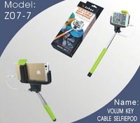 Z07-7 Extendable Selfie Stick Extendable Monopod Tripod With Button Handheld Wire Cable Take Pole for iPhone IOS Android