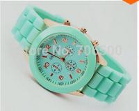 14 colors Casual Watch Geneva Unisex Quartz watch  men women Analog wristwatches Sports Watches Rose Gold Silicone watches