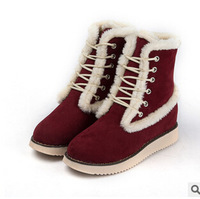 Free Shipping New 2014 Fashion Winter Women Warm Plush Mixed Color Mid-Calf Snow Boots SP0013