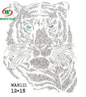 WAN121 On Transfer Hot fix Motif white Fashion Design crystal bear head Rhinestone Transfer