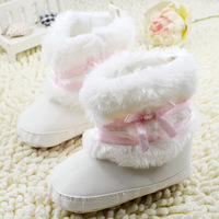 Retail Wholesales Hot New Newborn Baby Girls Bowknot Snow Boots Soft Crib Shoes Toddler Infants Warm Fleece Boots