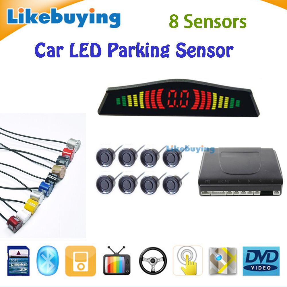 Three BiBi sound Car LED Parking Sensor Kit Backlight Display Radar Monitor System 12V 6 Sensors Free Shipping High Quality(China (Mainland))