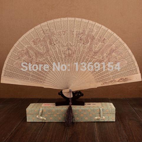 China traditional crafts folding fan / wood fan--8'---China Hangzhou sandalwood fan / hollow / ladies used / business - gift fan(China (Mainland))