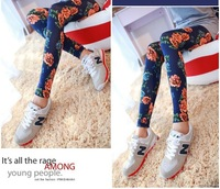 wholesale retail 1pcs/ lot Autumn winter fashion elastic print flowers women leggings female Casual legging free shipping 7515