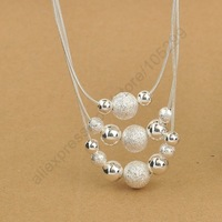 Promotions Free ship Beautiful fashion Elegant 925 Sterling Silver Charming 3 Layers Beads Pendant Necklace Jewelry For Woman