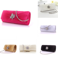 New Arrival Women Satin Wave Pleated Flower Bridal Clutch Bag Evening Party HandBag Purse Free Shipping