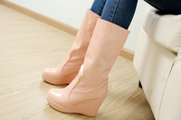 New special autumn shoes round toe slip-on mid-calf women wedges bootsZ1ST-718