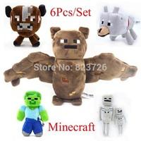 6pcs/lot Minecraft Baby Toys Minecraft Doll MC Plush Toys 16-36CM Cow Bat Wolf Zombie Skeleton Best Gala Gift For Kids