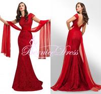 Vestido De Festa Mermaid Red Lace Dress Evening Custom Made Cap Sleeve Backless Prom Dresses Long Party Gown 2014 Robe De Soiree