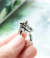 New Fashion  Vintage Silver Adjustable Giraffe Ring Animal Wrap Ring Wedding Rings For Men Free Shipping