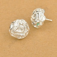 Fast Free Shipping Korea Flower Elegant Stud Earrings Woman Lady Jewelry 925 Sterling Silver Nickle Lead Free