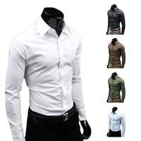 Men Luxury Casual Slim Fit Stylish Long Sleeve Dress Shirts 5 Colors 4 Size Free Shipping