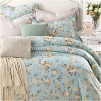 2015 Spring HOME TEXTILE 100% cotton 4pcs bedding set designer light blue wedding quilt cover bed sheet pillow cases king queen