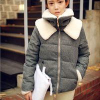 2014 winter fashion design short cotton-padded jacket outerwear thickening thermal double layer berber fleece cotton-padded