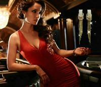 2014 New Long Rhinestone Drop Earrings For Women OL Lady Big Long Tassel wedding Earrings