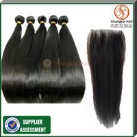 4 bundles Cheap 5A brazilian virgin hair straight  one piece lace closure