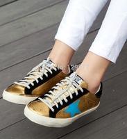 2014 freeshipping 2014 New Golden Goose GGDB Sneakers Superstar gold Flag Men Women Low Cut Shoes Sneakers G24U590 Q4