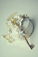 Accessories crystal key multi-layer pearl long necklace female necklace