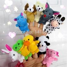 Wholesale New 10pcs/set  Cartoon Velvet Finger Animal Puppet Play Game/Learn/Story Baby Toys Dolls Free Shipping(China (Mainland))